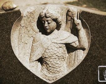 Sepia #Photograph, #halloween, wall art, home decor, photo print, fine art, headstone, cemetery, grave, Warrior Angel Heart, haiku, creepy