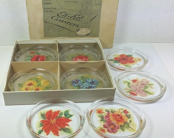 """GLASS COASTERS with Floral Decals, 1940's, Set of 8 in Original """"Eti-Ket"""" Box, Vintage Kitchen, Entertaining, Barware"""