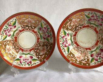 A Pair of Floral Derby Plates