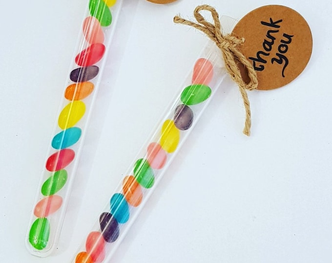 Jelly bean test tube wand candy favours Childrens party weddings christenings