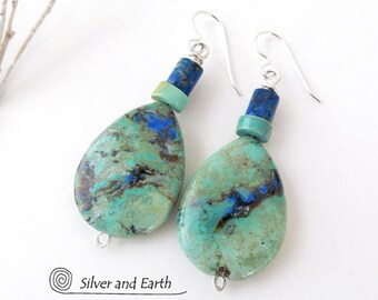 Azurite Malachite Earrings, Green Blue Stone Earrings, Stone Dangle, Natural Semiprecious Stone Jewelry, Sterling Silver, Blue Earrings
