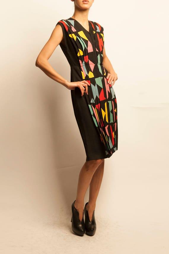 1940's multicolors geometric motif pleated dress