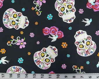 100% cotton Quilting skulls Dia de los muertos, vibrant  design with silver highlights.  Fun day of the dead. Folkloric. Black background***