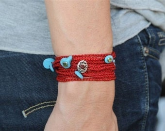 Red bracelet fashion luck jewelry and turquoise amulets, cameo and charms Indian wild button By RedBracelet on etsy