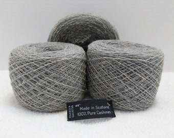 Recycled Lace Weight 100% Cashmere in Heather Gray 1,622 yards available