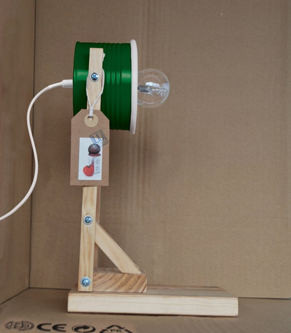 Bottle / emerald green desk lamp / bedside lamp / table lamp - eco friendly: recycled from tomato can !!! UK or EURO or US plug