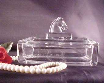 """Vintage Heisey Puritan Horse Head Cigarette Box and Lid, As Is 6"""" Collectible Glass Smoking Item, Mid Century Crystal Glass Animal Figurine"""