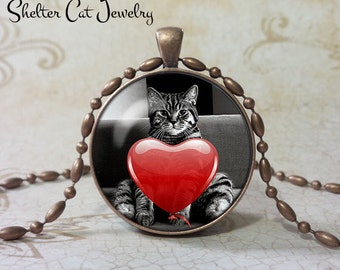 "Valentine Fat Cat Necklace - 1-1/4"" Circle Pendant or Key Ring - Kitty with Heart - Holiday Present or Gift for Cat Lover"