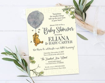 Winnie the Pooh Baby Shower Invitation, Classic Winnie the Pooh Baby Shower Invitation, Gender Neutral Baby Shower Invitation Printable