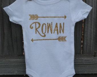 Monogrammed Arrow Onesie Girls- Baby Girl- Newborn- 0-12 Months- Short Sleeves- Long Sleeves