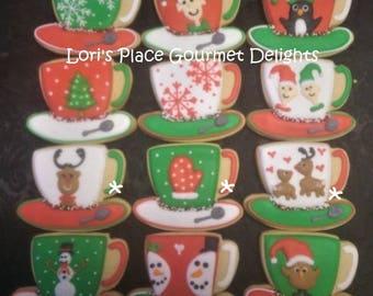 Christmas Tea Cup Cookes - Tea Cup Cookies - 12 Cookies