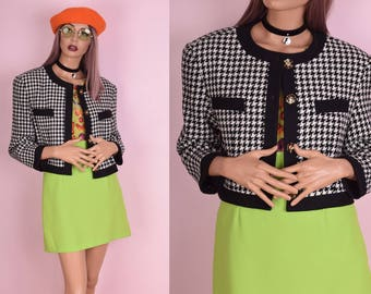 80s Black and White Houndstooth Cropped Jacket/ Medium/ 1980s