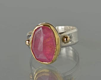 Sapphire Ring in Gold and Silver, Natural Pink Sapphire Cocktail Ring, Rose Cut, Statement Ring, Gift for Her, Made to Order