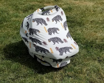 Black Bear || Stretchy 4 in 1 Baby Car Seat Cover || Nursing Cover