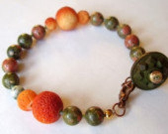 Unakite and Coral Funky Colorful Bohemian Orange and Green Stone Bracelet with Button Closure