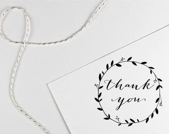 Thank you stamp with laurel circle, black self inking stamp or wood handle rubber stamp