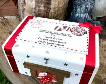 Personalised Christmas Eve Box with stockings Santa christmas eve box handmade wooden