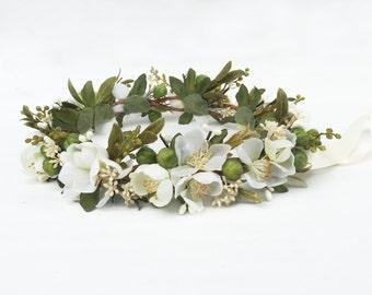 Apple Blossom Bridal Headpiece, Woodland Flower Crown, Ivory Flower Crown, Rustic Wedding, Wedding Crown, Boho, Woodland, Renaissance