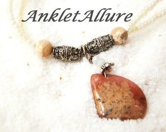Anklet Stone Anklet Ankle Bracelet Double Anklet White Anklet