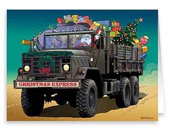 Santa Makes Delivery To Troops - Military Theme Christmas Cards - 18 Cards & Envelopes - 50052
