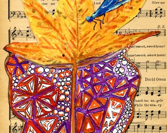 Zen Doodle Leaf Art Vintage Music Sheet art