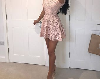 SALE - Blush Lace Mini Dress