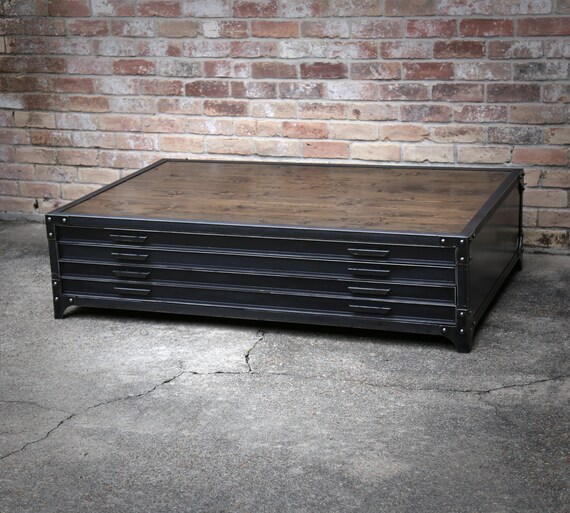Superb Flat File Industrial Coffee Table Handmade Steel Drawers
