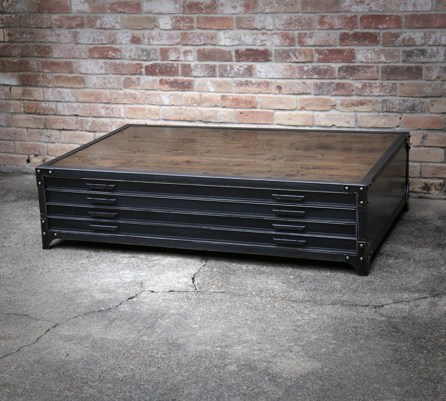 Flat File Industrial Coffee Table Handmade Steel Drawers