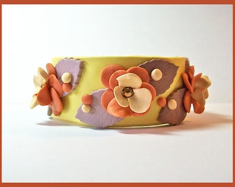 Cuff Bracelet Yellow, Pumpkin & Brown Polymer Clay 1 1/4 in. wide Magnetic Clasp Handcrafted Unique Design