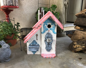 Bird house Functional Birdhouse Two Room Cond Wooden Bird House Post Mount Birdhouses Coral & White Item #50406131