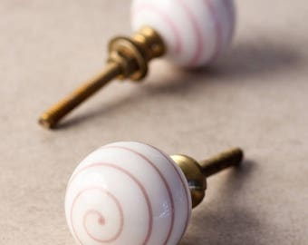 White knob with Pink Swirl Cabinet Knob (Sold In Set of 3)