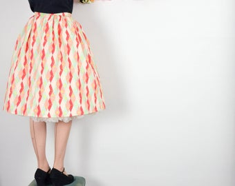 Holiday Harlequin Print Gathered Skirt in Red, Pink + Mint / Martinis & Mistletoe Skirt
