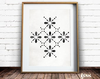 Scandinavian Art, Black Print, Geometric Art, Watercolor texture, Watercolor Pattern, Printable Wall Art