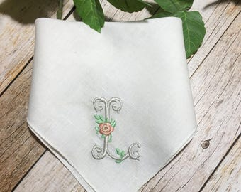 Monogrammed Handkerchief - Bridesmaid Gift - Bridal Party Gift - Wedding Party Gift - Wedding Hankie - Personalized Handkerchief - Hankie