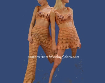 Crochet hot pants vintage Pattern PDF 672 from WonkyZebra