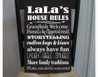 LaLa's House Rules for Grandchildren with love Grandmother  Handpainted Wood Sign 16 x 10.5