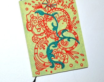 Notebook design embroidered-exclusive-it is easier to draw green orange
