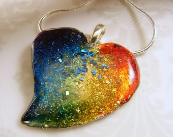 Rainbow Inked Heart Pendant - Mixed Metals