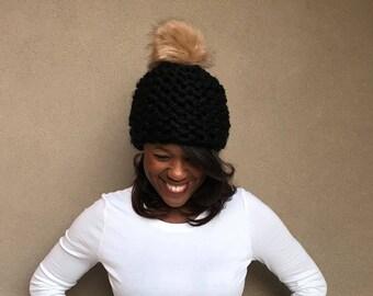 Chunky Knit Hat with Fur Pom