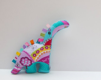 Plush Dinosaur Stuffed Animal Baby Girl Toy Turquoise Pink Purple Red