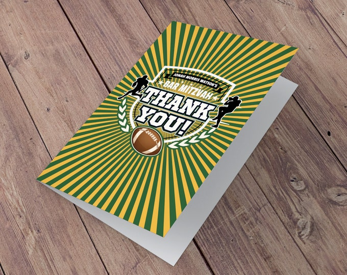 Thank You Card - Football thank you // All Star Birthday //  Super Bowl Party, sports birthday, ticket invite, Bar Mitzvah, football