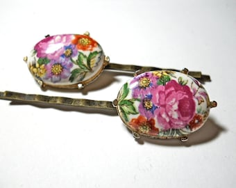 Hair Jewelry Cabbage Rose Vintage Porcelain Earrings  Bobby Pins