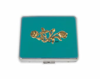 Weekly Pill Box Antique Gold Roses Inlaid in Hand Painted Teal Enamel Art Nouveau Inspired Personalized and Color Options