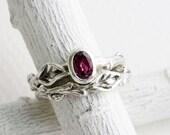 Rhodolite Garnet Twig Rings, Leaf Ring, Silver Branch Engagement Ring Set,Tree Nature Fine Jewelry,Oval Rhodolite Garnet