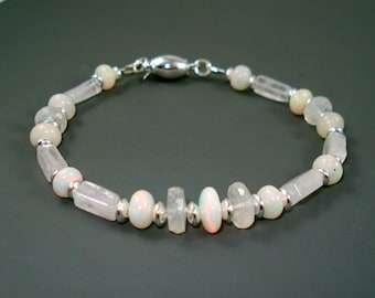 Moonstone Bracelet with Ethiopian Opals and Sterling Silver Beads