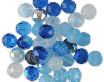 Assortment of 20 Navy Blue mix glass faceted beads / turquoise 8 mm