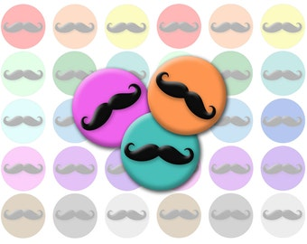 Rainbow Mustache Printable 1-Inch Circles / Bottlecap Images / Different Colors Moustaches Digital Collage / Instant Download