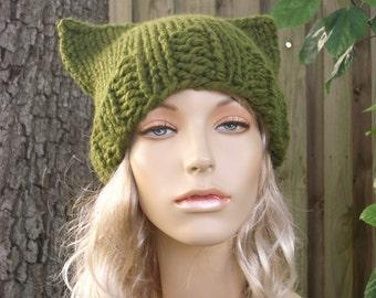 Green Cat Hat Green Womens Hat - Green Cat Beanie Hat - Olive Green Knit Hat - Green Hat Green Beanie Womens Accessories Winter Hat