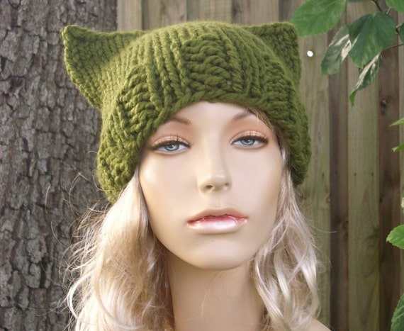 Green Cat Hat Green Womens Hat - Green Cat Beanie Hat - Olive Green Knit Hat - Green Hat Green Beanie Womens Accessories Winter Hat