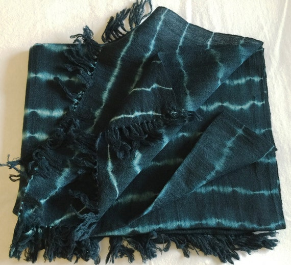 Pure Sheep wool scarf stole shawl wrap woven in indigo blue with Shibori style tie dye pattern with natural colors